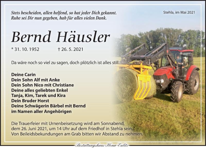 Traueranzeige für Bernd Häusler vom 05.06.2021 aus Torgauer Zeitung