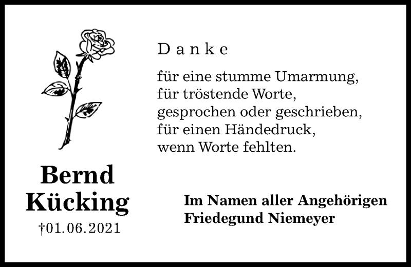 Traueranzeige für Bernd Kücking vom 26.06.2021 aus Göttinger Tageblatt
