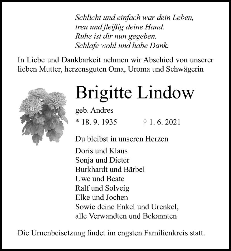 Traueranzeige für Brigitte Lindow vom 05.06.2021 aus Ostsee-Zeitung GmbH