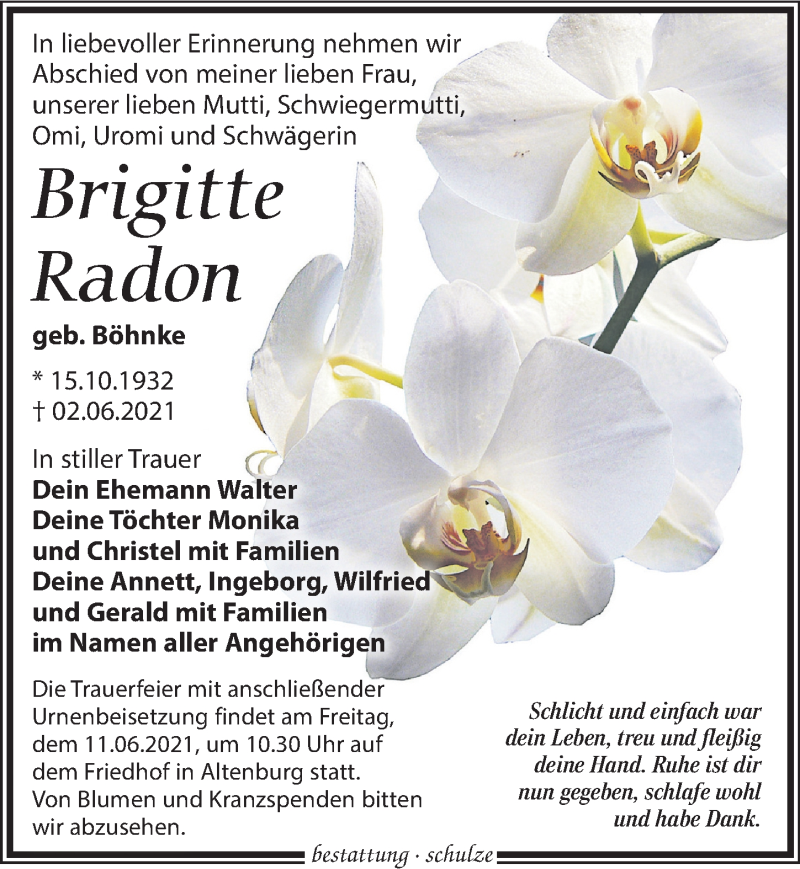 Traueranzeige für Brigitte Radon vom 09.06.2021 aus Leipziger Volkszeitung