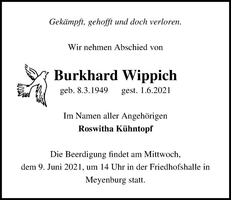 Traueranzeige für Burkhard Wippich vom 05.06.2021 aus Märkischen Allgemeine Zeitung