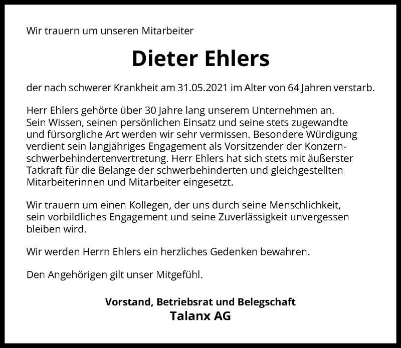 Traueranzeige für Dieter Ehlers vom 05.06.2021 aus Hannoversche Allgemeine Zeitung/Neue Presse