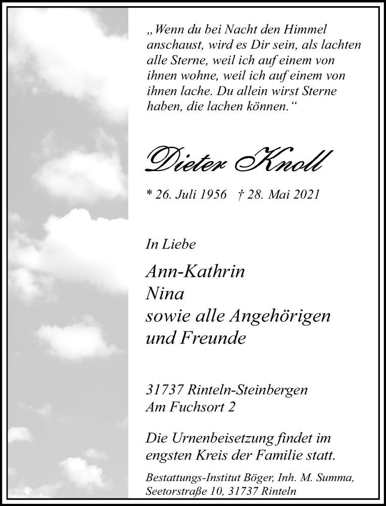 Traueranzeige für Dieter Knoll vom 05.06.2021 aus Schaumburger Nachrichten