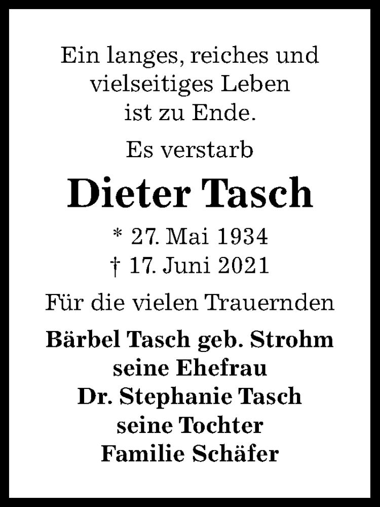 Traueranzeige von  Dieter Tasch