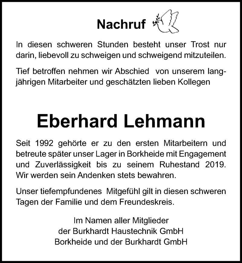 Traueranzeige für Eberhard Lehmann vom 12.06.2021 aus Märkischen Allgemeine Zeitung