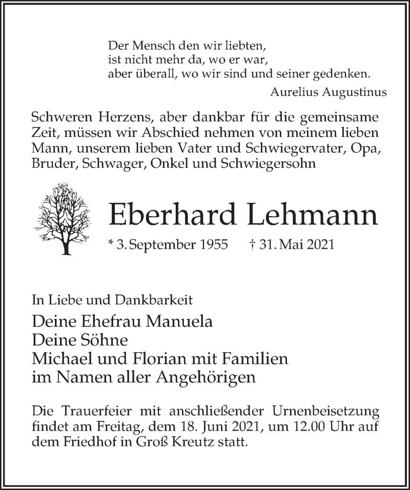 Traueranzeige für Eberhard Lehmann vom 05.06.2021 aus Märkischen Allgemeine Zeitung