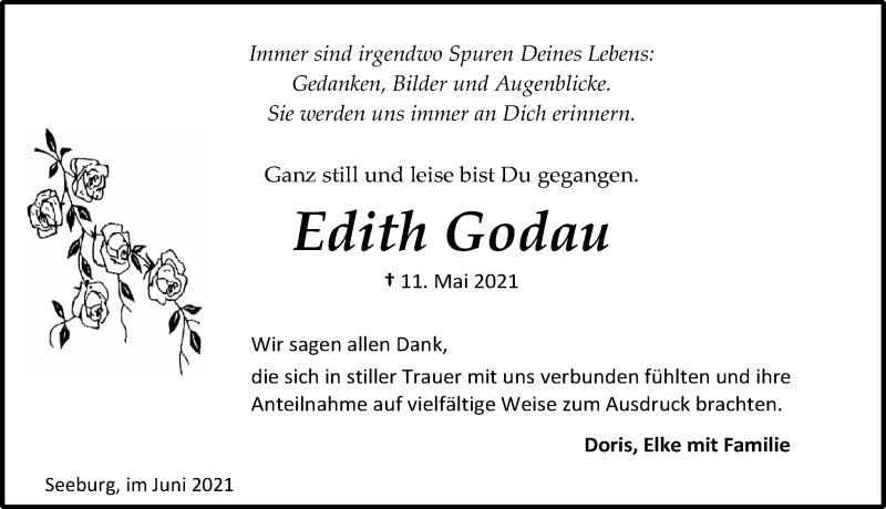 Traueranzeige für Edith Godau vom 12.06.2021 aus Eichsfelder Tageblatt