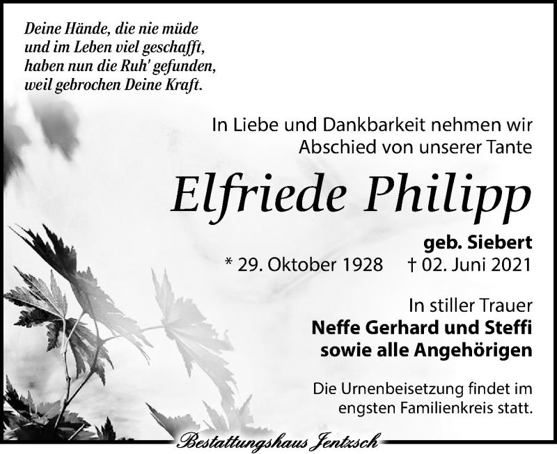 Traueranzeige für Elfriede Philipp vom 05.06.2021 aus Leipziger Volkszeitung