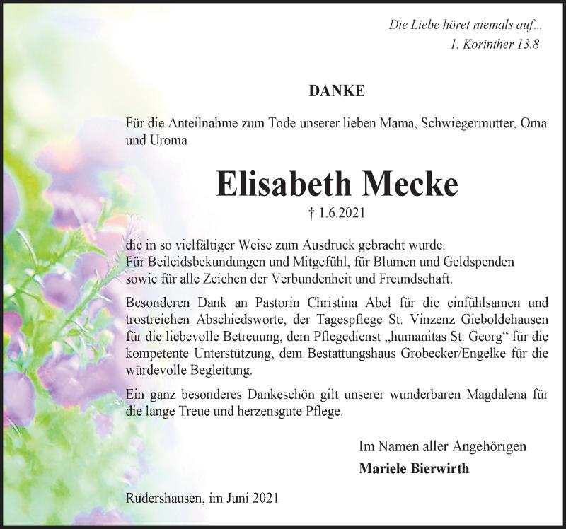Traueranzeige für Elisabeth Mecke vom 19.06.2021 aus Eichsfelder Tageblatt