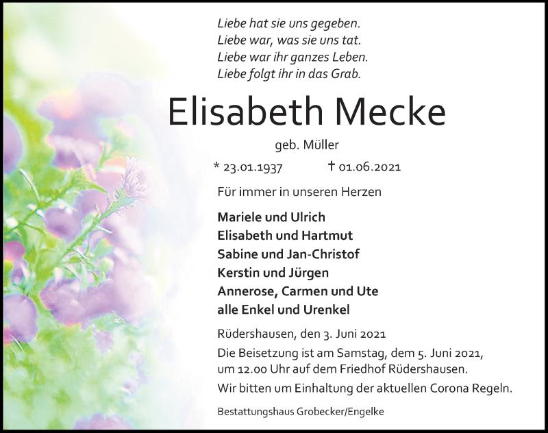Traueranzeige für Elisabeth Mecke vom 03.06.2021 aus Eichsfelder Tageblatt