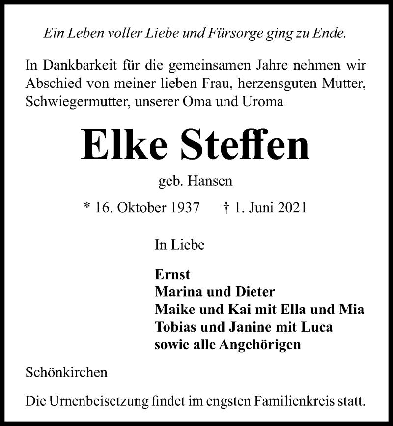 Traueranzeige für Elke Steffen vom 05.06.2021 aus Kieler Nachrichten