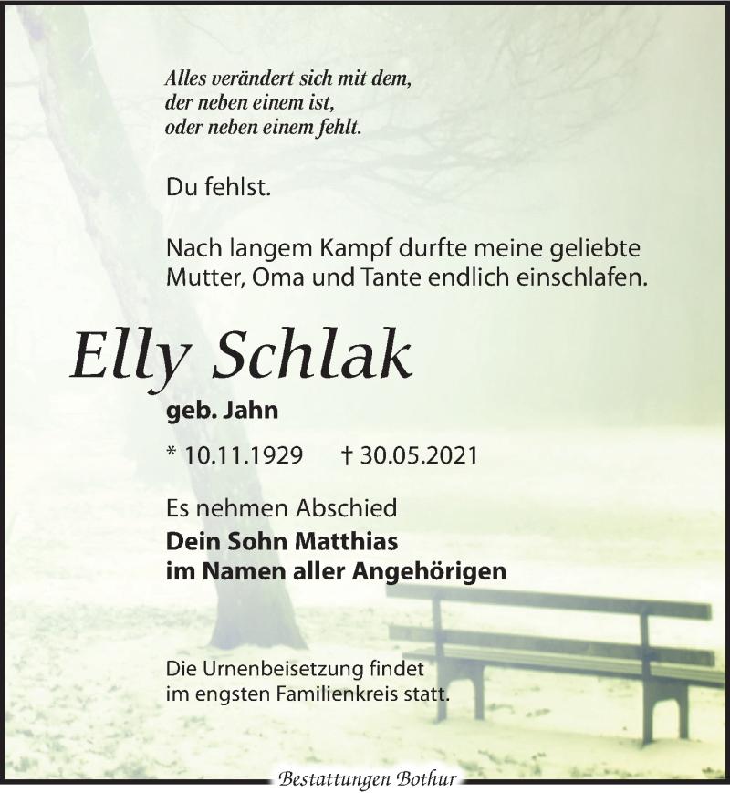 Traueranzeige für Elly Schlak vom 05.06.2021 aus Leipziger Volkszeitung