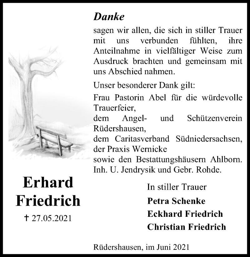Traueranzeige für Erhard Friedrich vom 12.06.2021 aus Eichsfelder Tageblatt