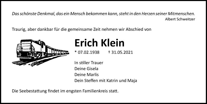 Traueranzeige für Erich Klein vom 05.06.2021 aus Ostsee-Zeitung GmbH