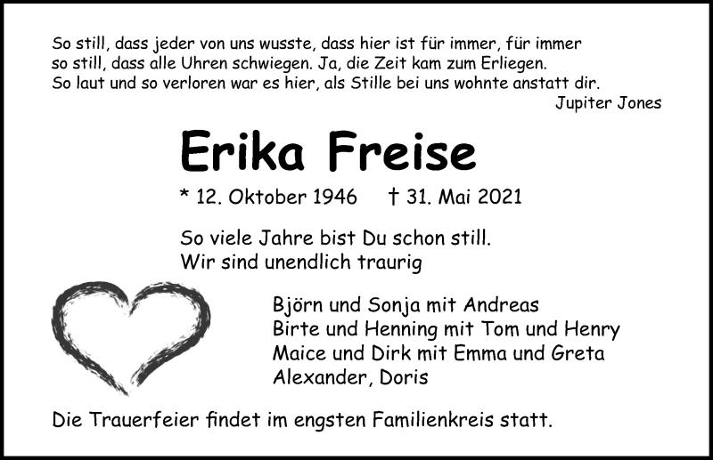 Traueranzeige für Erika Freise vom 06.06.2021 aus Lübecker Nachrichten