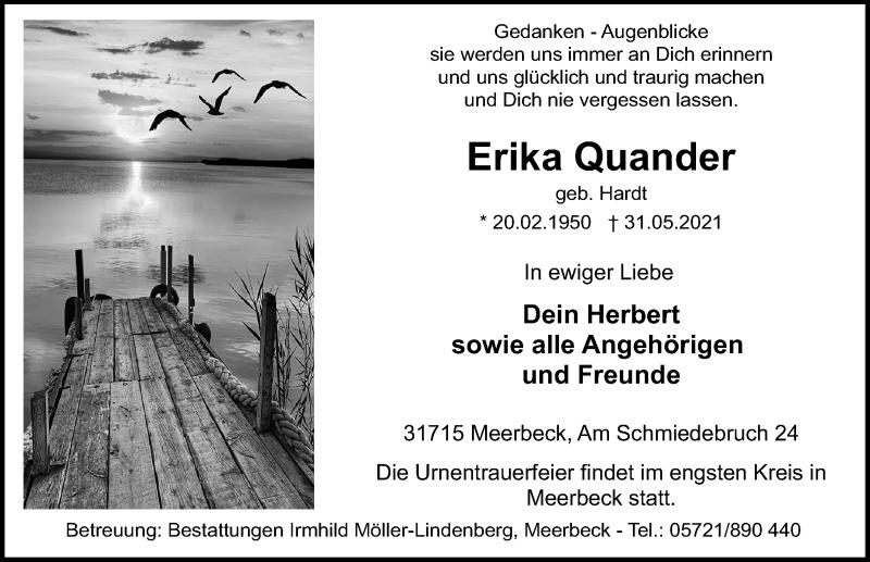Traueranzeige für Erika Quander vom 05.06.2021 aus Schaumburger Nachrichten