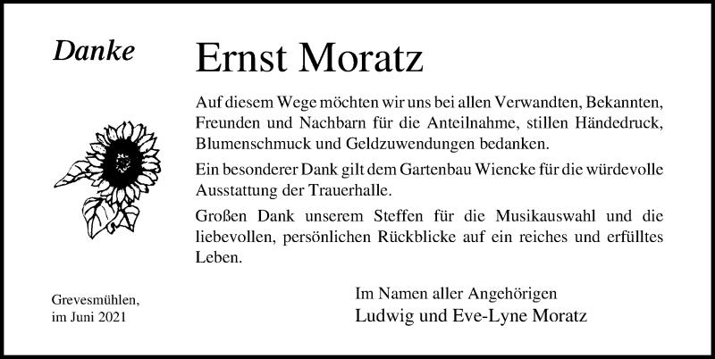 Traueranzeige für Ernst Moratz vom 11.06.2021 aus Ostsee-Zeitung GmbH