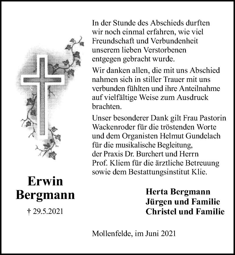 Traueranzeige für Erwin Bergmann vom 19.06.2021 aus Göttinger Tageblatt