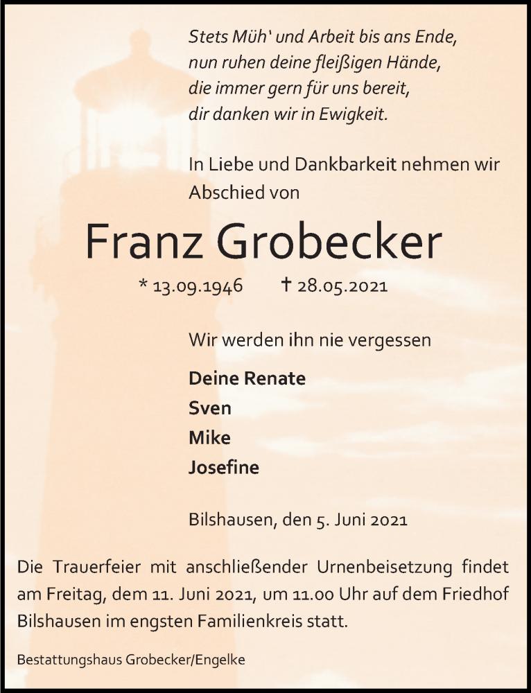 Traueranzeige für Franz Grobecker vom 05.06.2021 aus Eichsfelder Tageblatt
