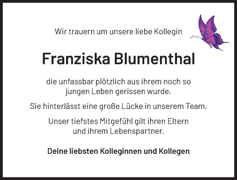 Traueranzeige von  Franziska Blumenthal