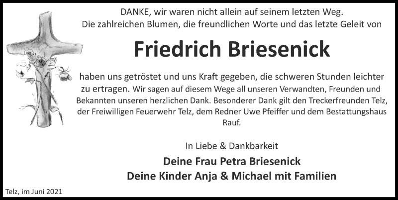 Traueranzeige für Friedrich Briesenick vom 19.06.2021 aus Märkischen Allgemeine Zeitung
