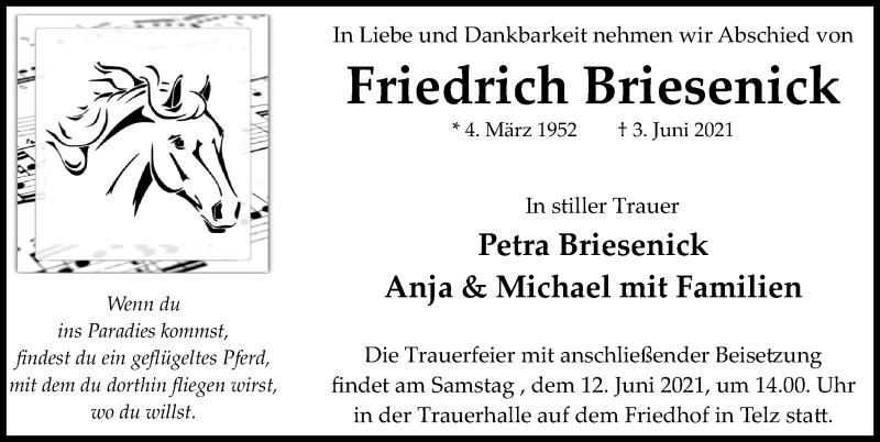 Traueranzeige für Friedrich Briesenick vom 09.06.2021 aus Märkischen Allgemeine Zeitung