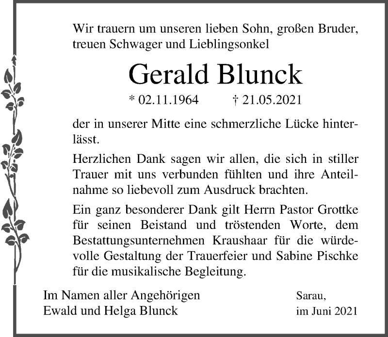 Traueranzeige von  Gerald Blunck