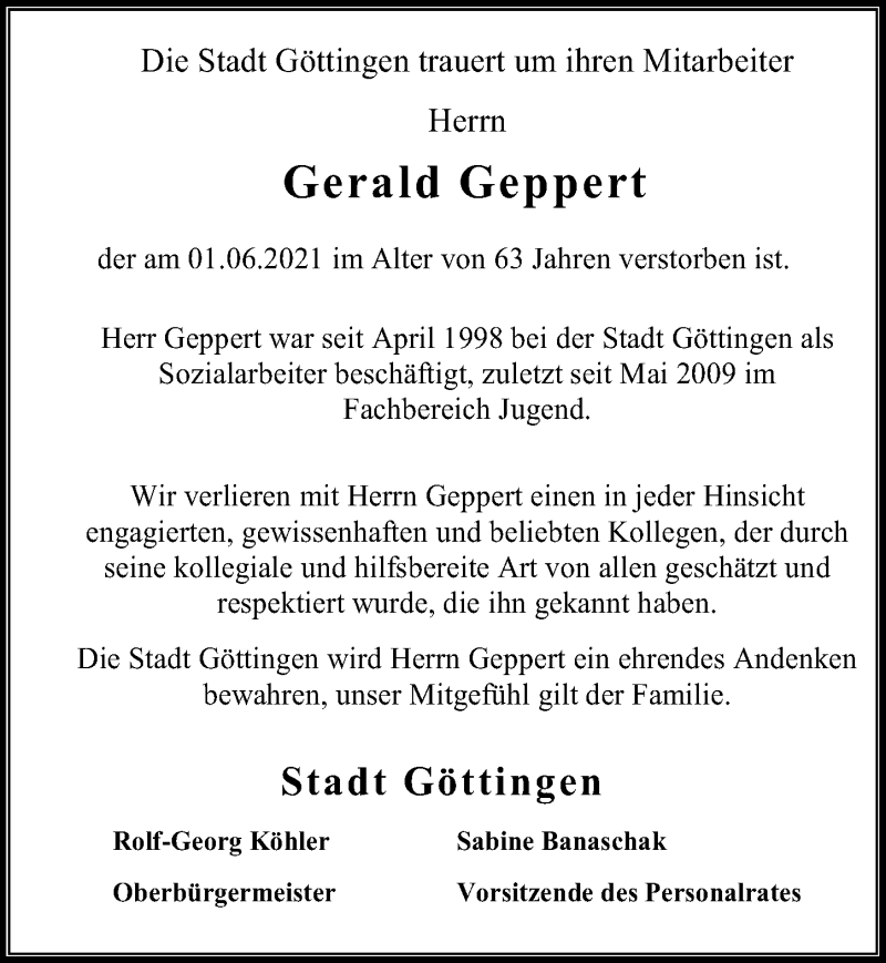 Traueranzeige für Gerald Geppert vom 05.06.2021 aus Göttinger Tageblatt