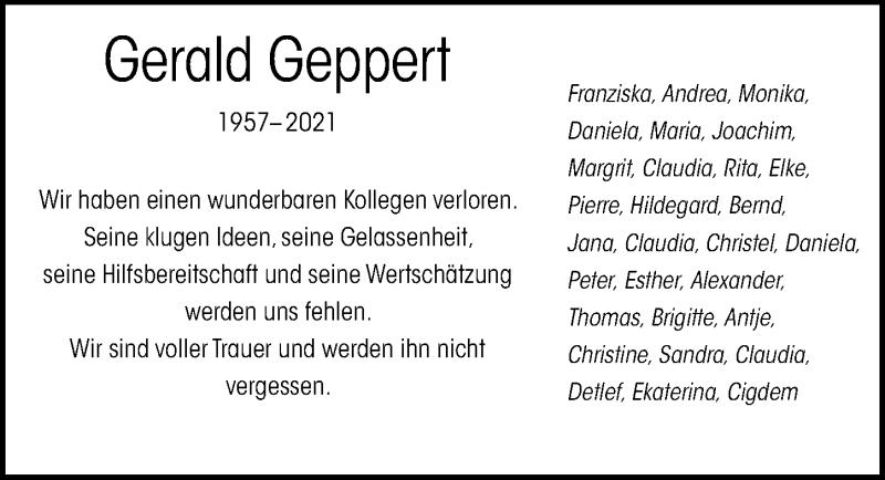 Traueranzeige für Gerald Geppert vom 12.06.2021 aus Göttinger Tageblatt
