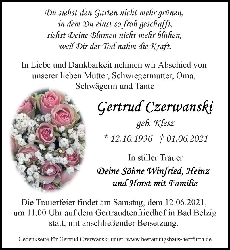 Traueranzeige für Gertrud Czerwanski vom 05.06.2021 aus Märkischen Allgemeine Zeitung