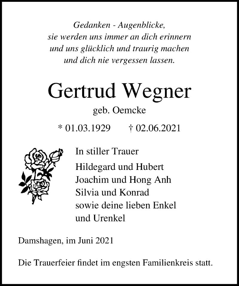 Traueranzeige für Gertrud Wegner vom 08.06.2021 aus Ostsee-Zeitung GmbH