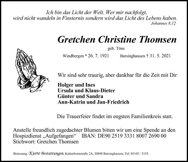 Traueranzeige für Gretchen Christine Thomsen vom 05.06.2021 aus Hannoversche Allgemeine Zeitung/Neue Presse