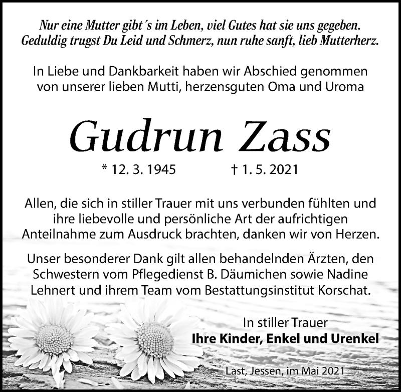 Traueranzeige für Gudrun Zass vom 05.06.2021 aus Torgauer Zeitung