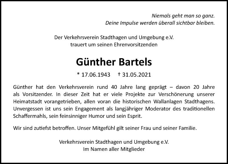 Traueranzeige für Günther Bartels vom 05.06.2021 aus Schaumburger Nachrichten
