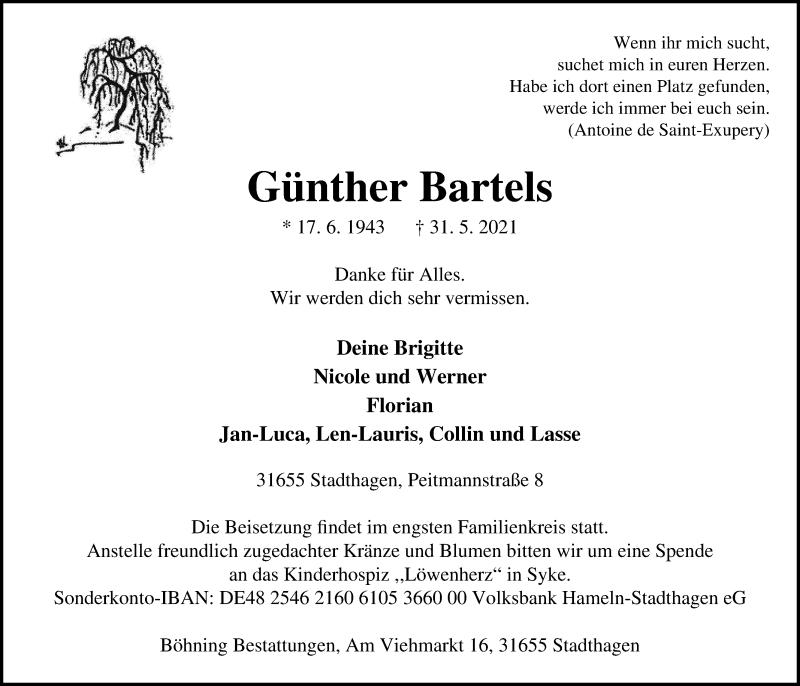 Traueranzeige für Günther Bartels vom 03.06.2021 aus Schaumburger Nachrichten