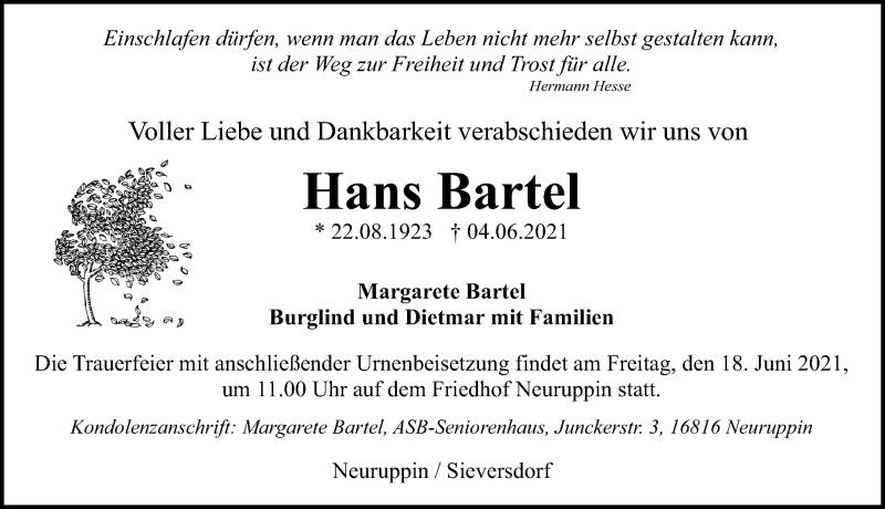 Traueranzeige für Hans Bartel vom 08.06.2021 aus Märkischen Allgemeine Zeitung
