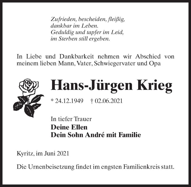 Traueranzeige für Hans-Jürgen Krieg vom 05.06.2021 aus Märkischen Allgemeine Zeitung