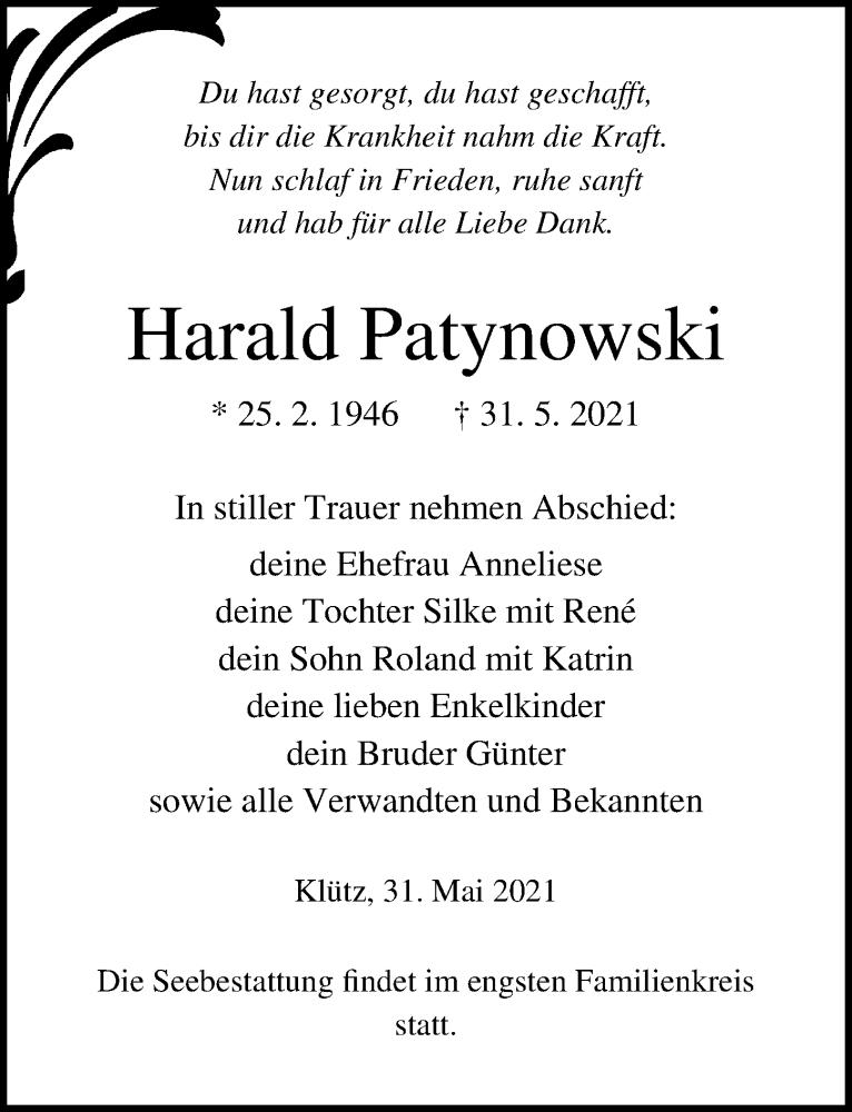 Traueranzeige für Harald Patynowski vom 04.06.2021 aus Ostsee-Zeitung GmbH