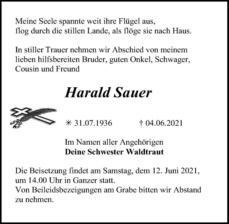 Traueranzeige für Harald Sauer vom 08.06.2021 aus Märkischen Allgemeine Zeitung