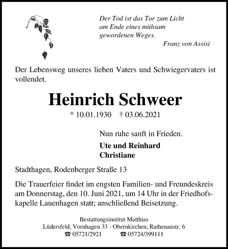 Traueranzeige für Heinrich Schweer vom 08.06.2021 aus Schaumburger Nachrichten