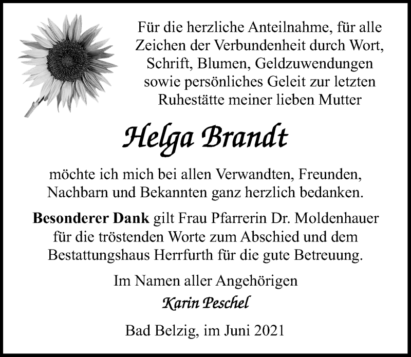 Traueranzeige für Helga Brandt vom 12.06.2021 aus Märkischen Allgemeine Zeitung