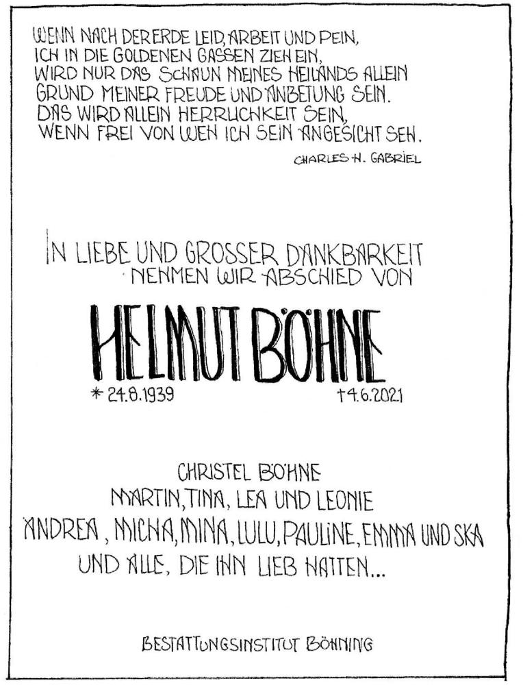 Traueranzeige für Helmut Böhne vom 08.06.2021 aus Schaumburger Nachrichten