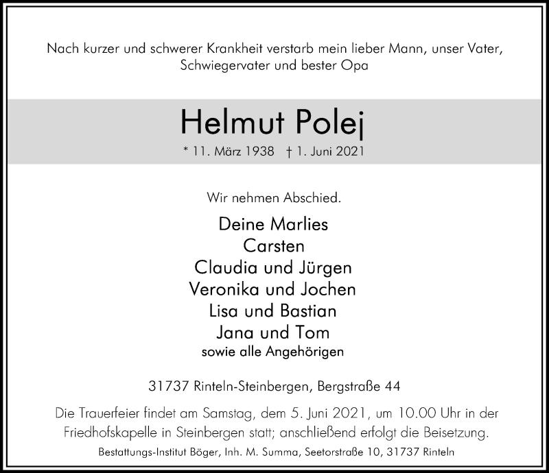Traueranzeige für Helmut Polej vom 03.06.2021 aus Schaumburger Nachrichten