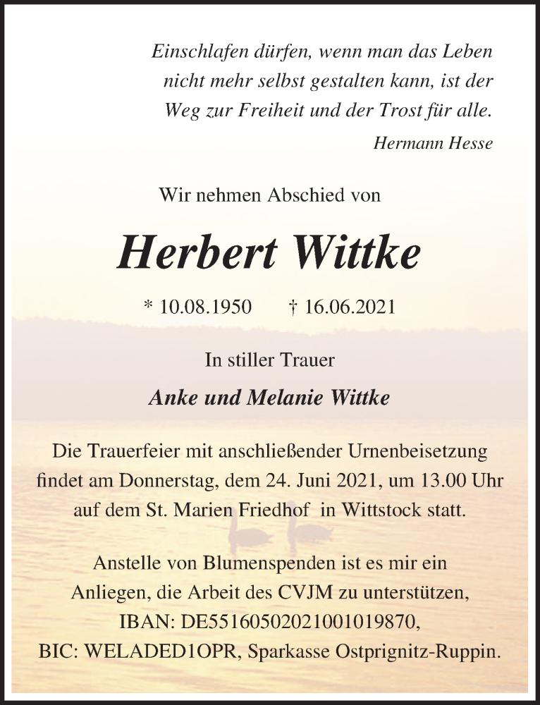 Traueranzeige für Herbert Wittke vom 19.06.2021 aus Märkischen Allgemeine Zeitung