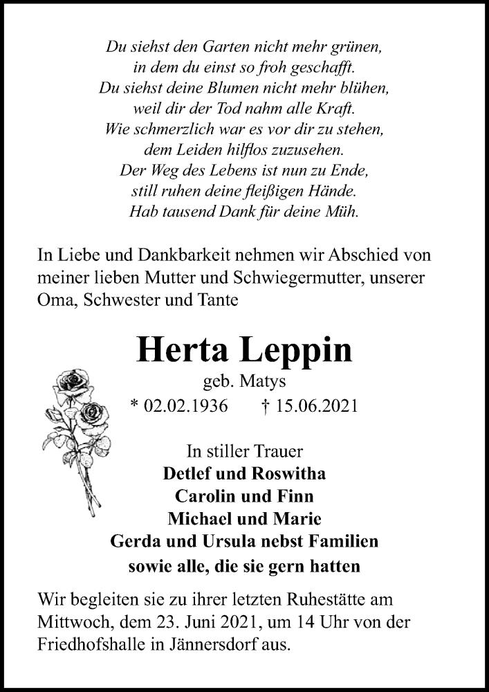 Traueranzeige für Herta Leppin vom 19.06.2021 aus Märkischen Allgemeine Zeitung