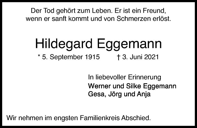 Traueranzeige für Hildegard Eggemann vom 05.06.2021 aus Kieler Nachrichten