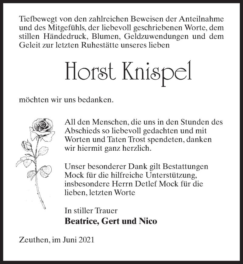 Traueranzeige für Horst Knispel vom 12.06.2021 aus Märkischen Allgemeine Zeitung