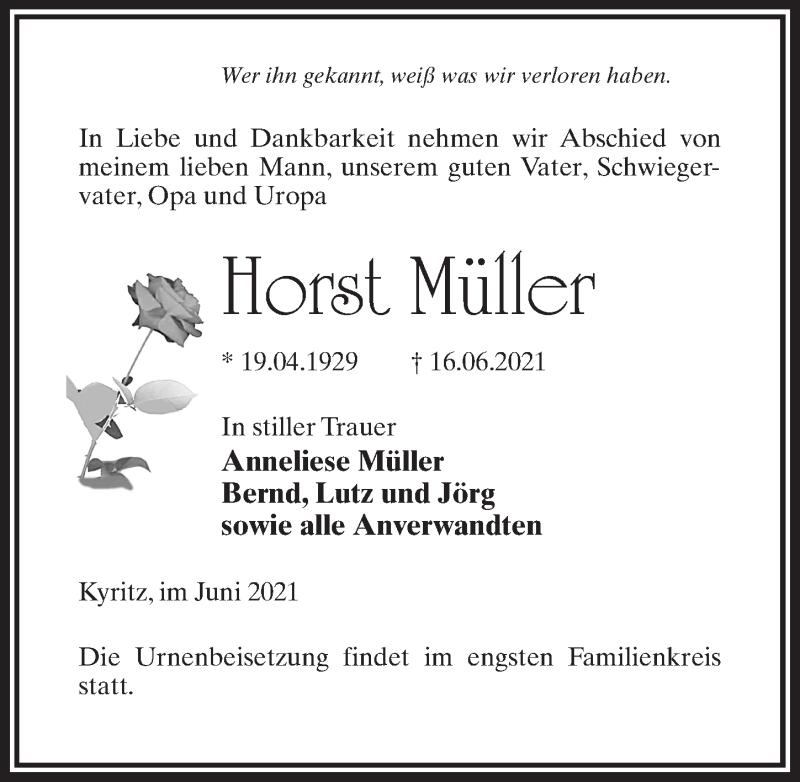 Traueranzeige für Horst Müller vom 19.06.2021 aus Märkischen Allgemeine Zeitung