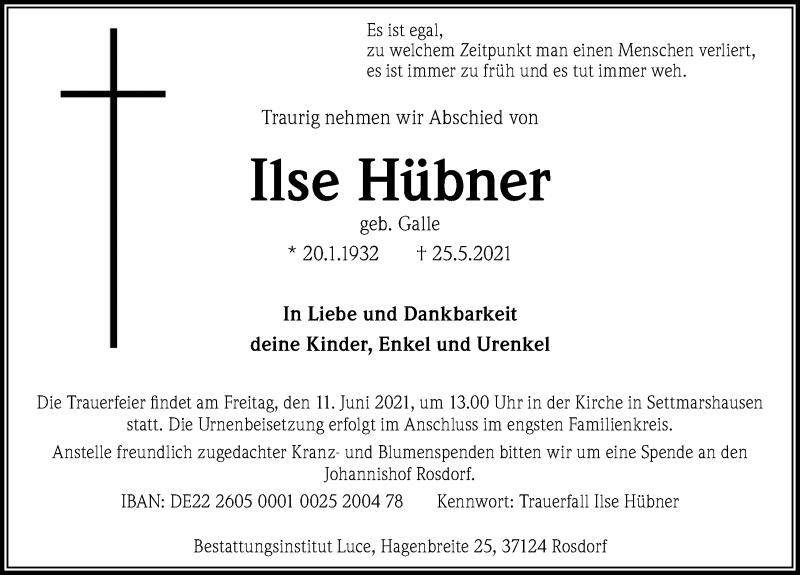 Traueranzeige für Ilse Hübner vom 05.06.2021 aus Göttinger Tageblatt
