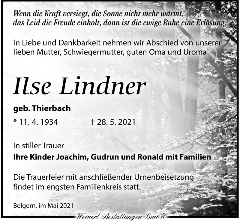 Traueranzeige für Ilse Lindner vom 05.06.2021 aus Torgauer Zeitung